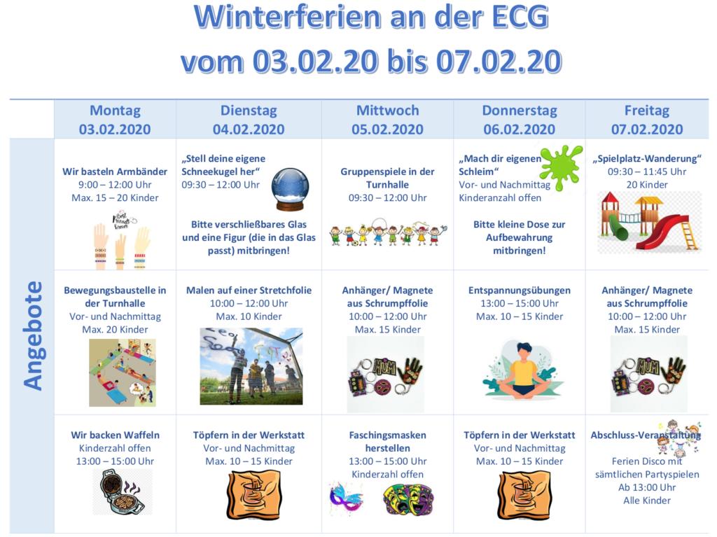 SpB Winterferien 2020 Angebote
