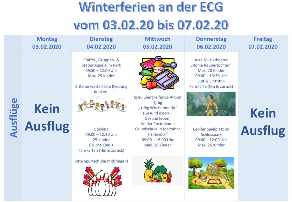 SpB Winterferien 2020 - Ausflüge