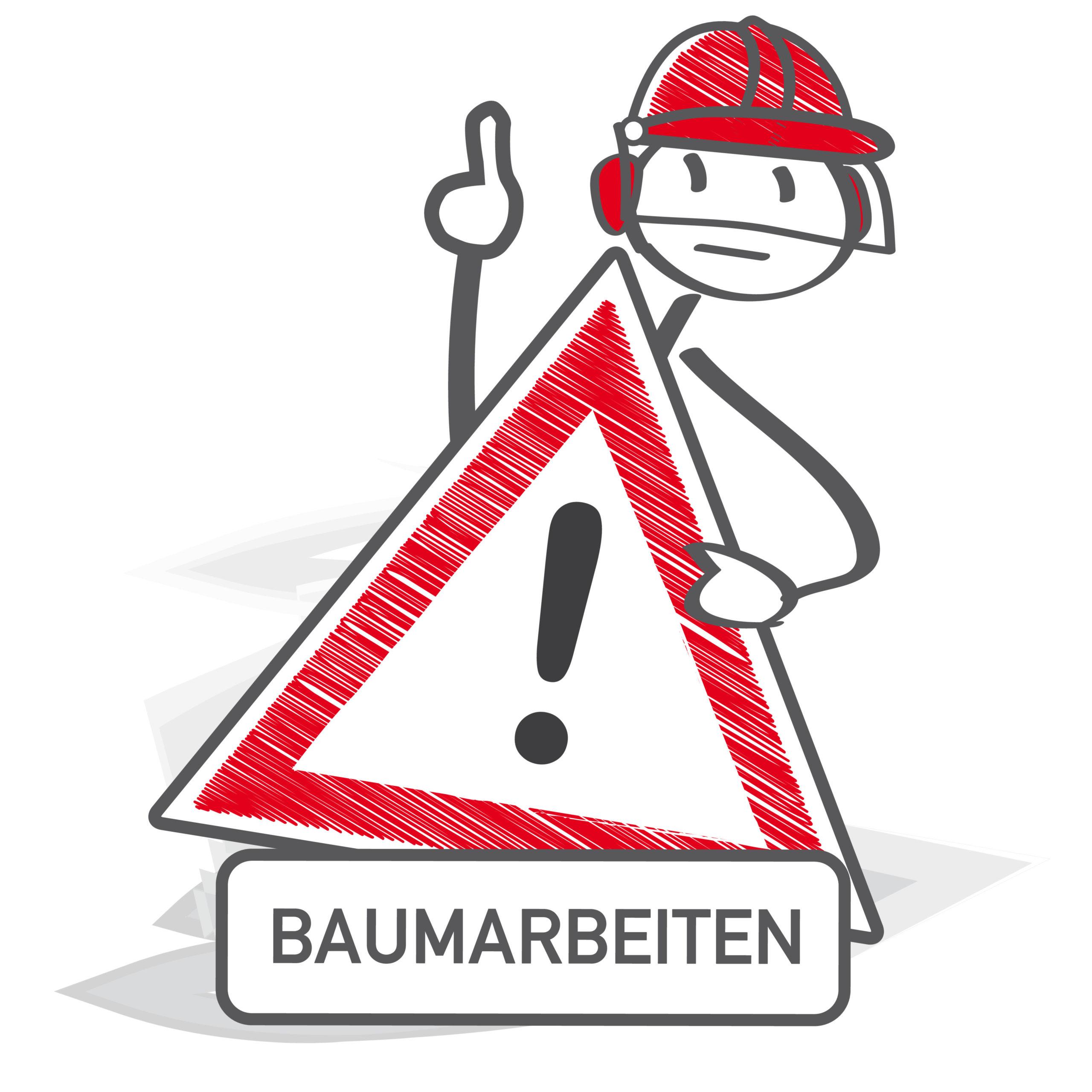 Achtung Baumarbeiten - Strichmännchen hält Warnschild